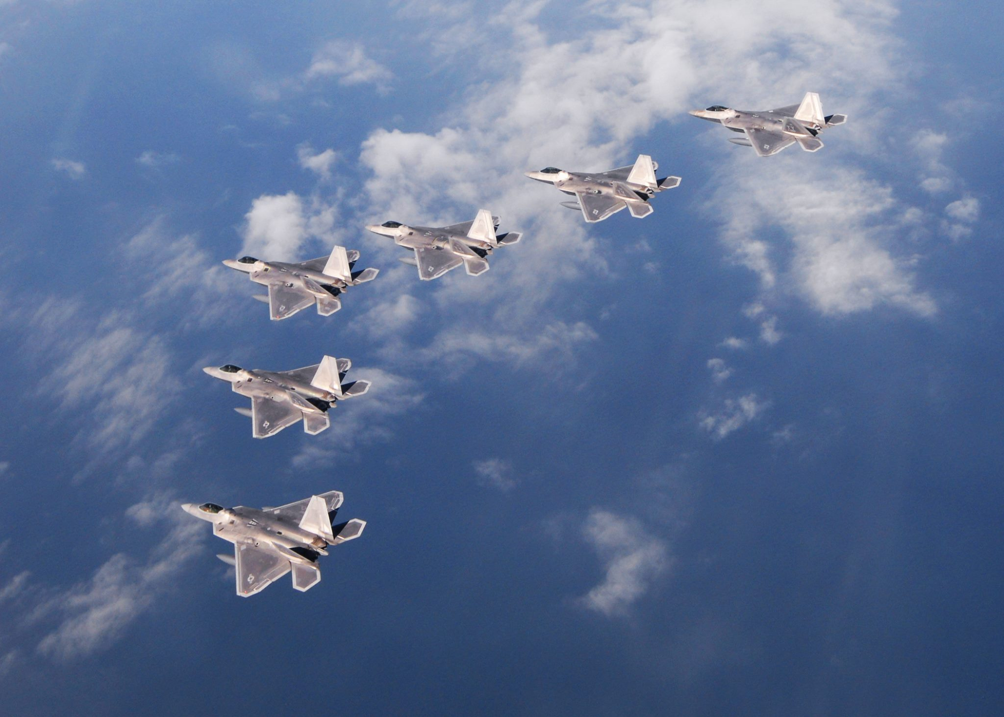U.S. Air Force F-22A Raptor fighters training at Tyndall AFB