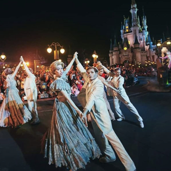 The 99 Happy Haunts show off their dancing skills in the Boo To You Parade