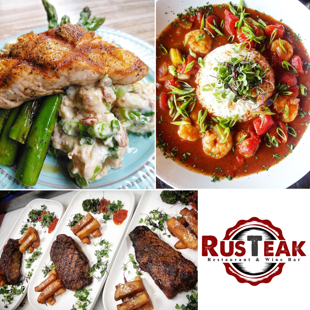 Various dishes from Rusteak and restaurant logo