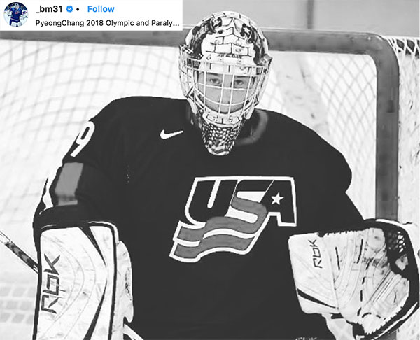 2018 Hockey Goalie Winter Olympian - Brandon Maxwell