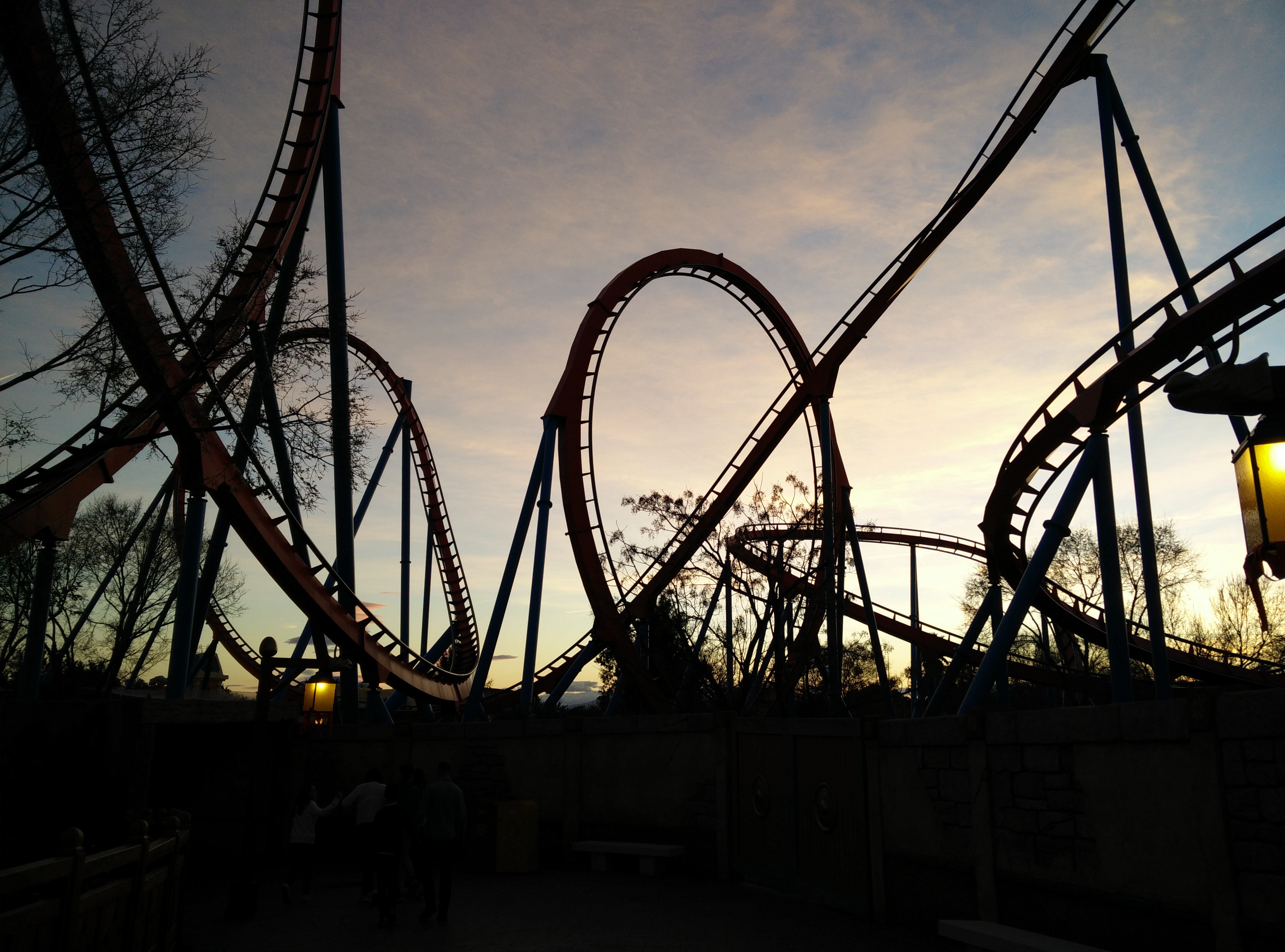 A rollercoaster during a sunset