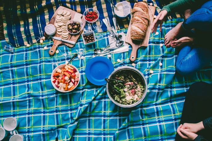 picnic blanket with food bowls