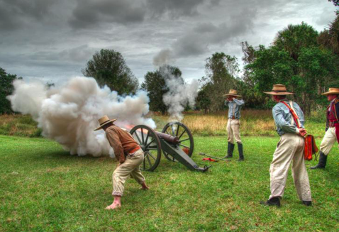 A war reanactment taking place at the Okeechobee Battlefield Historic State Park