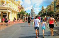 Guests walking down Main Street USA