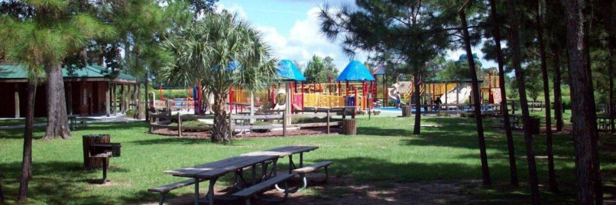 panorama of playground and picnic benches