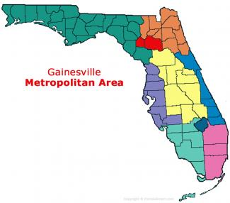 Gainesville, Florida Metro Area Map