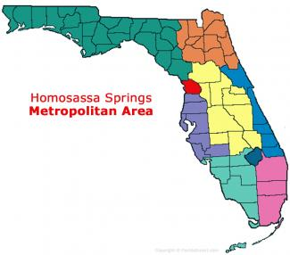 Homosassa Springs, Florida Metro Area Map