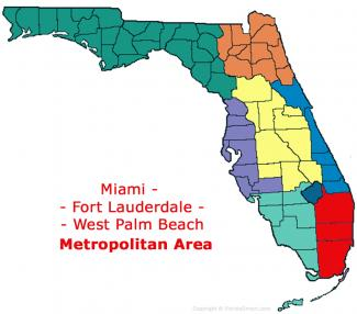 Miami - Fort Lauderdale - West Palm Beach, Florida Metro Area Map