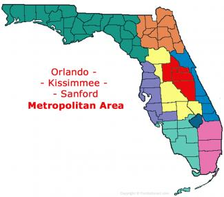 Orlando - Kissimmee - Sanford, Florida Metro Area Map