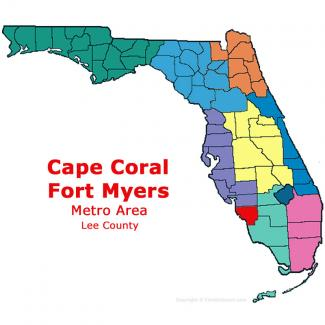 Cape Coral - Fort Myers, Florida Metro Area Map
