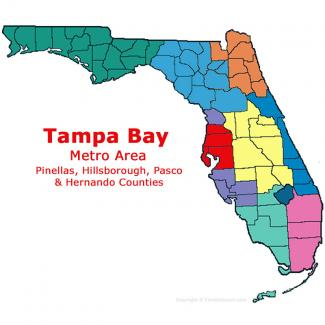 Tampa - St Petersburg - Clearwater, Florida Metro Area Map